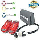 LED Safety Light Flashlight Torch, For Running Walking Dogs Camping Outdoors - Clip-On Rechargeable Lightweight Magnetic - Including 2X Rear Safety Lights - Lumino