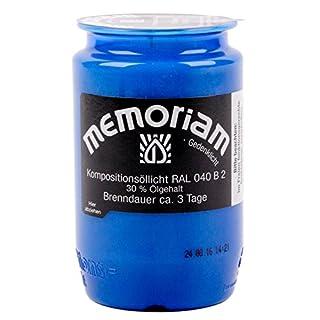 Memoriam Kompo Öllicht Nr. 33 - rot, weiß oder blau - 3 Tage Brenndauer - 20 Stück (blau)