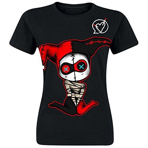 Cupcake Cult Geisteskrank T-Shirt Damen Schwarz Harley Quinn Entladung Aufdruck Cosplay Gothic Emo - Schwarz, 40-42 (Rock Emo T-shirt)