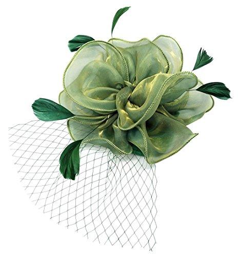 Flywife Fascinators Hut Feder Blume Garn Schleier Clip Stirnband Kopfbedeckung Tea Party Derby Cocktail Hochzeit ()