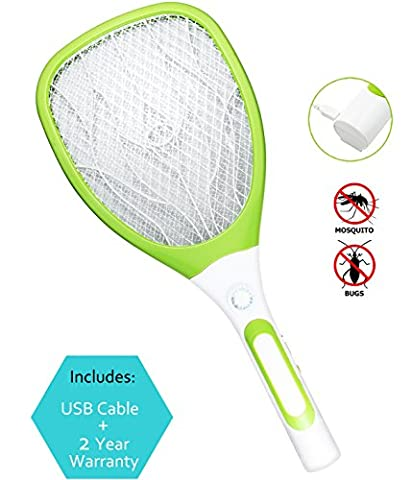 Samoa USB Mosquito Swatter Bug Fly Zapper with Detachable Flash Light for Indoor and Outdoor Pest Control with new handle (White,