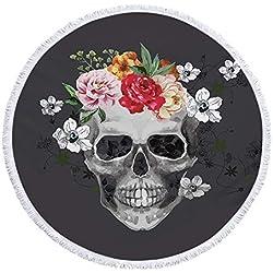 FEOYA - Manta de Playa Redonda de Microfibra Toalla de Playa de Patrón de Calavera Cráneo en 3D para Mantel Picnic Yoga Tapiz Grande con Borlas para Decorar Pared Hogar Sofá 150 * 150cm - Negro