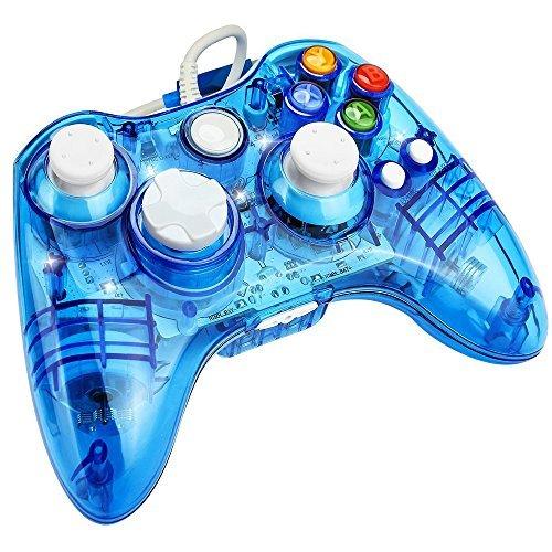 J & T USB Joypad Xbox 360Controller Transparent Gamepad mit Shining LED-Licht - 360 Xbox Led Controller Blau