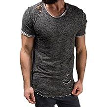 Camiseta Hombres, Manadlian Camiseta de los hombres Moda Hole Round Collar Tees Shirt Manga corta