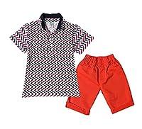 Smile YKK Boys Kids 2PCS Printed Lapel Short Sleeve T-Shirt Tops Pant Sets B 6