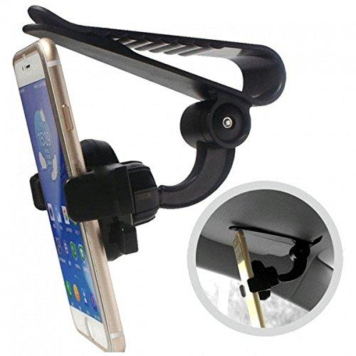 TrAdE shop Traesio® SUPPORTO SMARTPHONE Z01 CLIP GANCIO PARASOLE PORTACELLULARE UNIVERSALE REGOLABILE