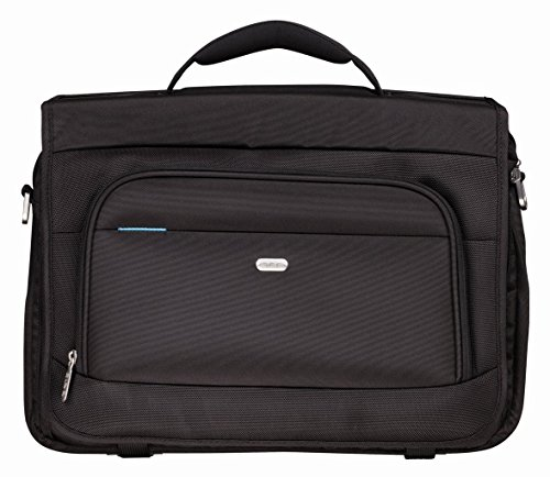 Pierre by ELBA 100402215 Laptoptasche für Notebooks bis 17 Zoll Original Line Messenger Bag mit Zubehör-Fach, grauen Innenfutter und Trolley-Lasche, Schwarz (Fach-messenger)