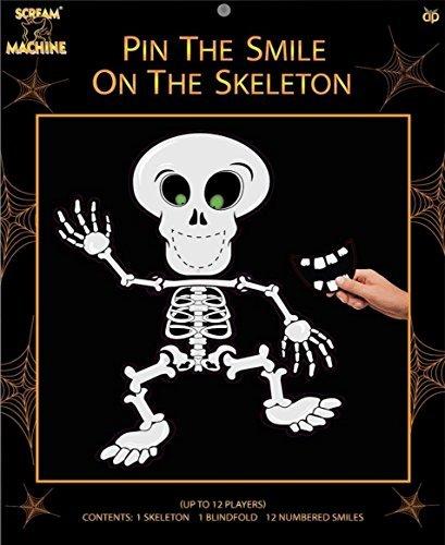 (Halloween-Party Spiel - Steck den Lächeln auf das Skelett - Partys Esel Wand Totenkopf)
