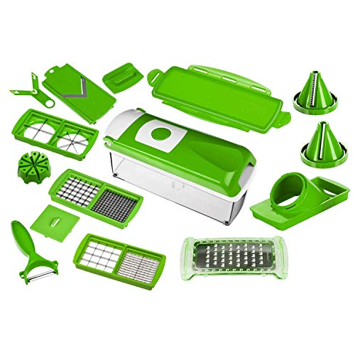 Genius Nicer Dicer Plus | 16 pièces | Coupe-fruits | Coupe-Oignon | Coupe-Pomme | Coupe-tomate | Coupe-légumes |...