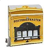KlebeSpatz® Motiv Briefkasten Maxi mit Zeitungsfach Zeitungsrolle für A4 Post slk shop Groß Briefkasten Alt gelb