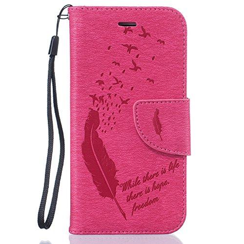 """Aeeque® iPhone 6 Noir Etui, Romantique Pissenlit et Amour Motif Dessin Housse Case en Cuir pour iPhone 6/6S 4.7"""" avec Support/ Pochette/ Magnetique Fonction Plume et Oiseau Rose vif"""