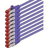 1aTTack - Cable de red SSTP PIMF con 2 conectores RJ45 de doble apantallamiento CAT 6 0 Violeta - 10 piezas 0,25 m