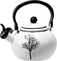 Corelle Coordinates by Reston Lloyd Harmonic Hum Alert Whistling Teakettle with Fold Down Handle, 2-Quart, Timber Shadows