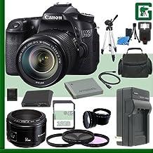Juego de cámara réflex digital Canon EOS 70d con 18–135mm IS STM lente y Canon 50mm f/1,8lente + paquete de cámara de 16GB verde