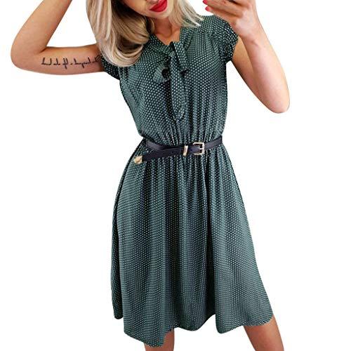 Ärmellos Rüschen Vorne Oben (Damen Kleid Sommerkleid Art und Weisefrauen beiläufige Rüschen schnüren sich oben Verband Punkt gedrucktes Minitaillen Kleid)