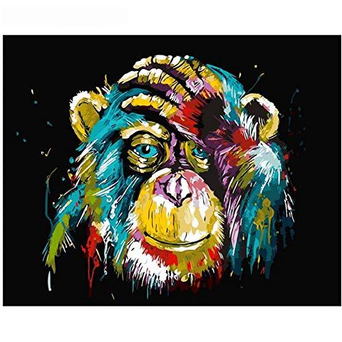 Hyllbb Diy Ölgemälde Malen Nach Zahlen Kit Für Erwachsene Anfänger, Bunte Orang-Utan-Malerei Auf Leinwand-40 * 50Cm,With Frame (Malerei-kit Für Anfänger)