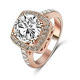 Aooaz Schmuck Damen Hochzeit Ringe Vergoldet Ringe Quadrat Ring Strass Zirkonia Ring Größe 57 (18.1)