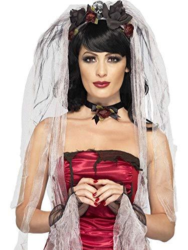 shoperama Set Gothic Braut Schleier mit Rosen und Totenköpfen Armstulpen Kette Halloween Kopfschmuck Tiara Haarreif