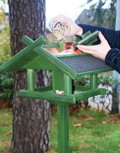 Vogelhaus Futterhaus Futterstelle für Tiere Kupferdach massiv mit Ständer 155cm - 3
