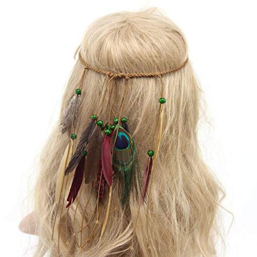 Berrose-indisch Stil Weberei Feder Stirnband Kopfbedeckungen Feder Stirnband -