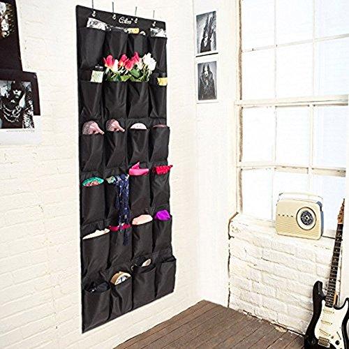 Colleer portaoggetti con 24 tasche da appendere alla parete porta armadio, ideale come organizzatore per scarpe biancherie nero