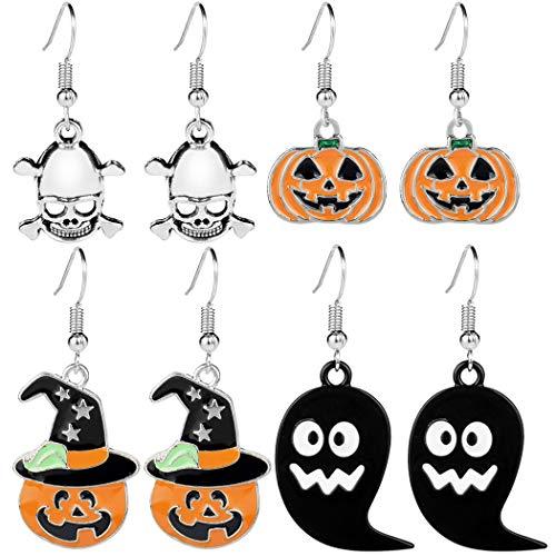ZOYLINK 4 Paar Halloween Haken Ohrringe Set Ohrringe Schmuck Ohrringe für Mädchen