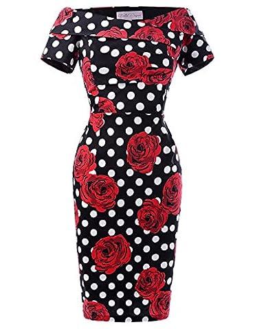 Robe Vintage Crayon Femme Noire à Pois Blanc avec grande Rose Taille 38 BP117-5