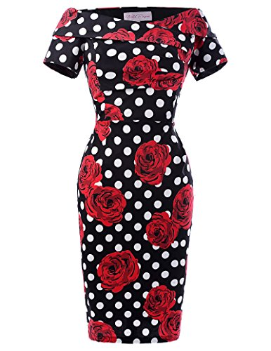 Robe Retro Vintage pin-up Pois Rose Robe Crayon de Ceremonie Taille 44 BP117-5, Floral(BP117-5)