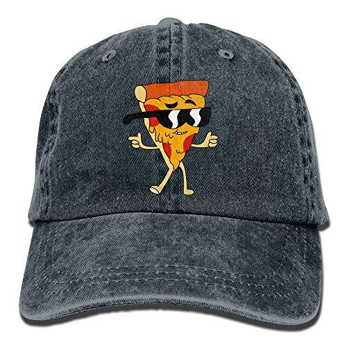 Nifdhkw Coole Pizza mit Sonnenbrille Vintage Washed Denim Papa Sport Baseball Mütze Design21