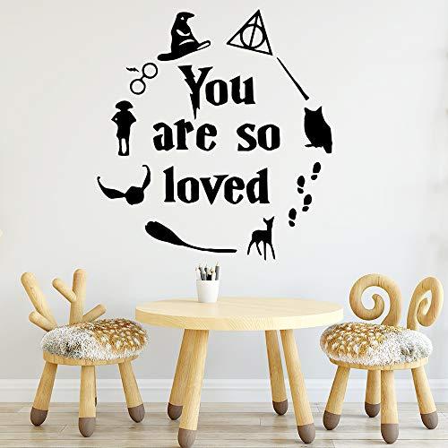 wlwhaoo Abnehmbare Sie sind so geliebt Harry Poter Home Decor Vinyl Wandaufkleber für Kinderzimmer wasserdicht Wandkunst Aufkleber schwarz XL 57 cm x 60 cm