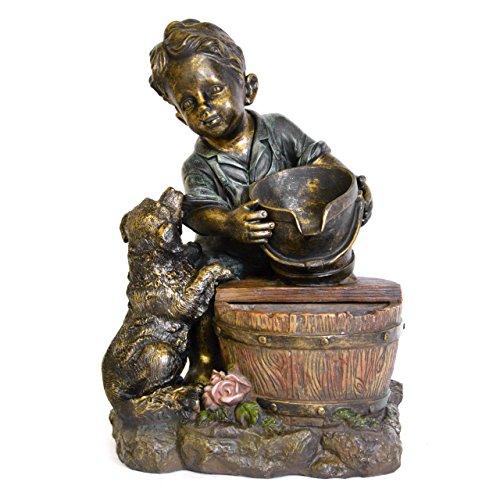 floristikvergleich.de Gartenbrunnen Junge mit Hund Polyresin Wasserspiel mit Pumpe