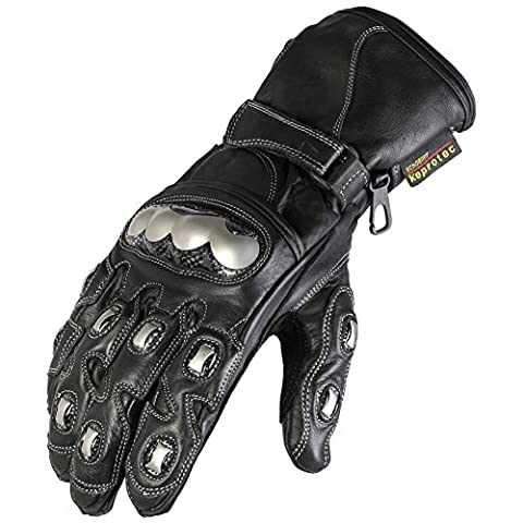 New Texpeed Black & Chrome Protective Motorbike / Motorcycle Gloves