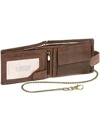 Portefeuille pour homme et femme avec la chaîne et verrouillage externe format paysage Vintage-Style LEAS MCL, cuir véritable, marron - ''LEAS Chain-Series''
