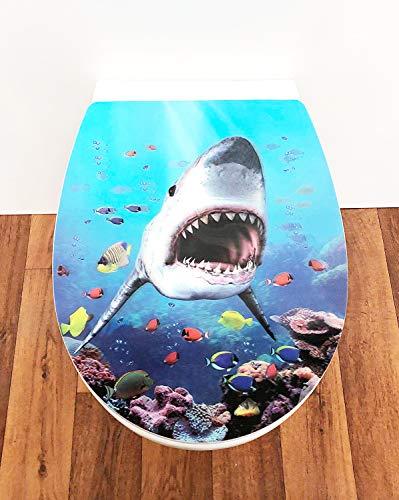 ADOB Design WC Sitz 3D Hai Klobrille Klodeckel Toilettendeckel, Absenkautomatik/Softclose, zur Reinigung abnehmbar, 63512