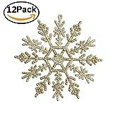 Zogin12 STK Weihnachten Schneeflocken Stern Schnee 11cm mit Mit Flash-Power Weihnachtssterne Dekostern Fensterdeko Tischdeko (Gold)