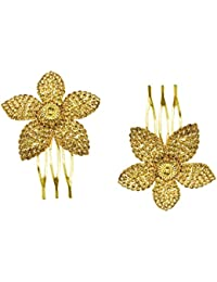 AccessHer: Trendy Indo Western Wedding and Party Wear Fancy Golden Hair Accessories Hair Clip Side Pin Comb Pin Jooda Pin for Girls and Women