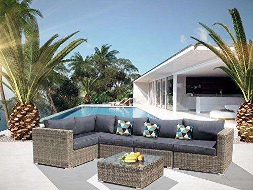 Luxurygarden - divano ad angolo in rattan angolare con penisola salotto da esterno piscina andresa