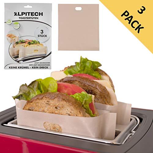 Toastertüten Wiederverwendbar, Toasterbeutel (3er Set) für Sandwich, Toast, Pizzastück, Brotzeit, Toasterbag zum Aufwärmen von Fischstäbchen, Chicken Nuggets in der Toastertasche, Toaster Bag