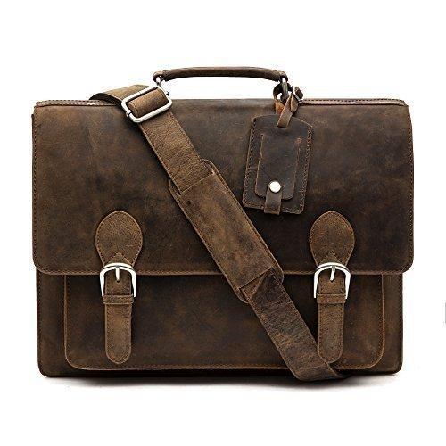 porterbello - 'Trieste' Grand fait main Premium Hunter cuir sacoche cartable Messager Sac ordinateur portable