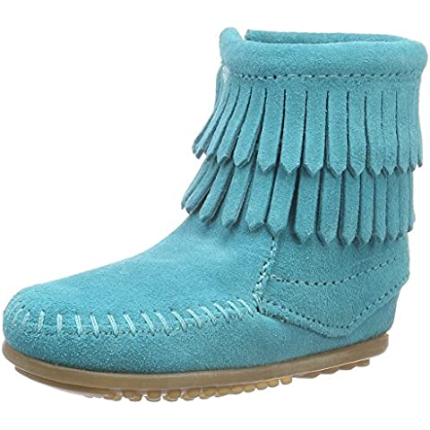 Minnetonka Double Fringe Side Zip Boot, Botines Unisex Niños