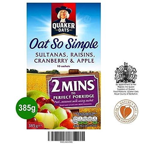 Quaker Oat So Simple Sultanas, Raisins, Cranberry & Apple 10 x 38,5g - Vollkorn Haferflocken mit Sultaninen, Rosinen, Preiselbeeren & Apfel