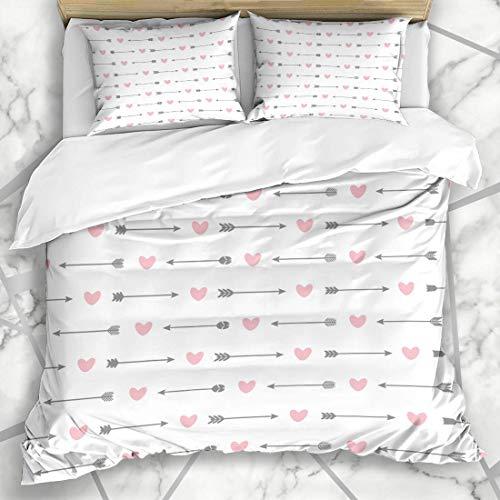 Soefipok Bettbezug-Sets Feather Love Niedliches Muster Pfeile Herzen Bogenschießen Aztec Ancient Bow Design Weiße Mikrofaser-Bettwäsche mit 2 Kissenbezügen