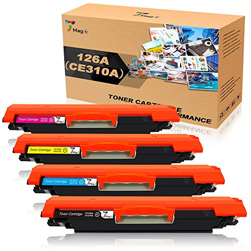 CE310A Tóner, 7Magic HP 126A CE310A Premium Cartuchos de Tóner Compatible para HP Colour LaserJet Pro CP1025 CP1025NW P1020 Color MFP M175 M175A M175NW Pro M275 M275A M275NW