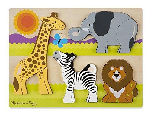 Melissa & Doug Holzpuzzle mit klobigen Teilen - Safaritiere (20 Teile)