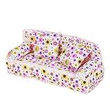yshon Mini Möbel Blume Sofa Couch mit 2Kissen, für Barbie Puppe Haus Zubehör