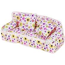 YSHON Mini muebles flor sofá sofá con 2cojines para muñeca Barbie casa accesorios