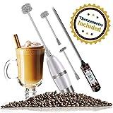 Mousseur à lait puissant électrique mousseur à main pour coffee latte cappuccino mélangeur de boissons au chocolat chaud avec fouets en acier inoxydable 3-tailles + 1 thermomètre de cuisson à pile.