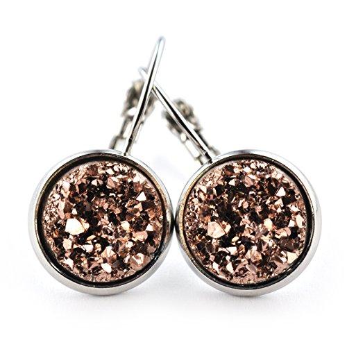 SCHMUCKZUCKER Damen Ohrhänger Bruch-Kristall Modeschmuck Ohrringe Silber-Farben 14mm (Bronze)