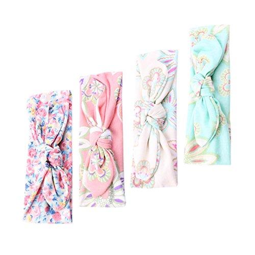 COUXILY 4 Stk Stirnbänder Baby Mädchen Floral Knot Haarband mit Begon (4 - F01)
