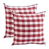 MEIYIMI Checkered Plaids Überwurf Kissenbezug cottion Leinen Kariert Kissen für Sofa Schlafzimmer Auto 45,7x 45,7cm, 45x 45cm, Rot, 45 x 45 cm